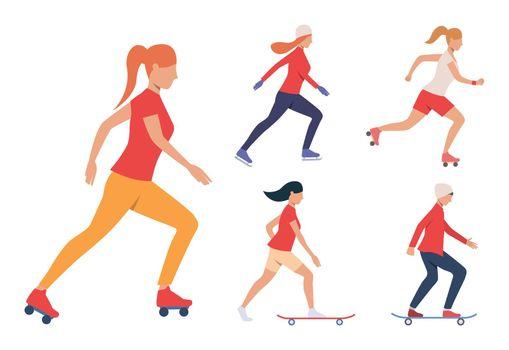 Set of skating activities. Girls and guy skateboarding