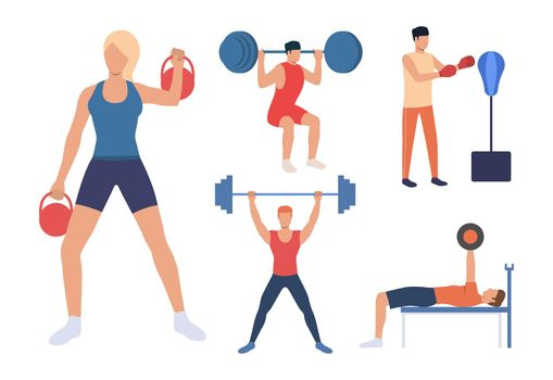 Set of strength training. Men and women lifting weights