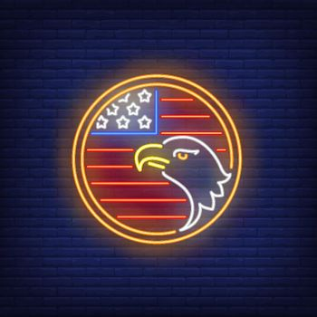 American flag and eagle in circle neon sign
