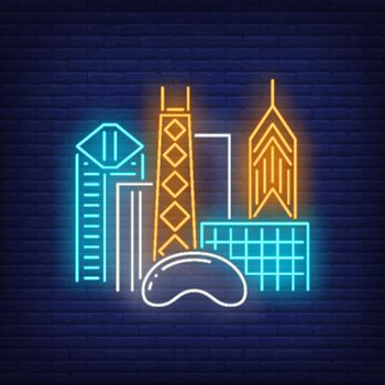 Chicago city buildings and Cloud Gate neon sign