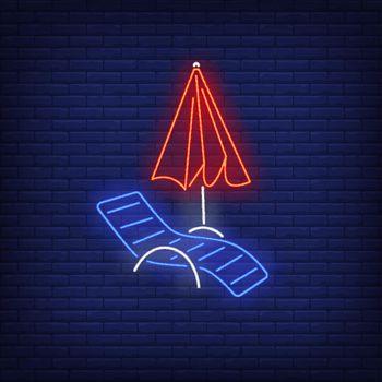Chaise longue and beach umbrella neon sign