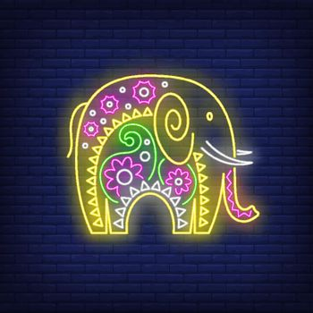 Decorated Indian elephant neon sign
