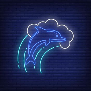 Dolphin in wave neon sign