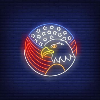 Eagle and American flag in circle neon sign