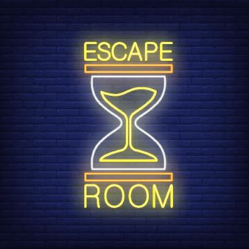 Escape room neon sign. Text and sandglass