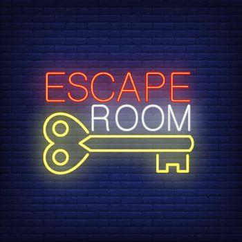 Escape room neon sign. Vintage key