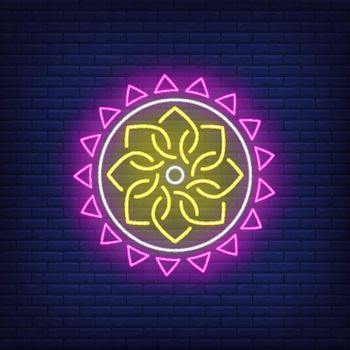 Ethnic round mandala pattern neon sign