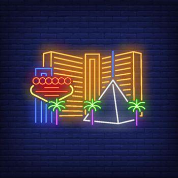 Las Vegas city buildings and landmarks neon sign