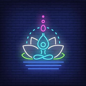 Lotus flower and figure meditating neon sign