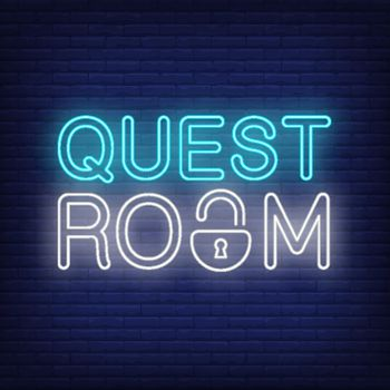 Quest room neon sign. Text with lock