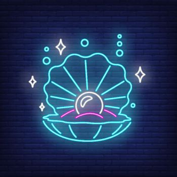 Seashell with pearl neon sign