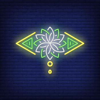 Stylized lotus flower neon sign