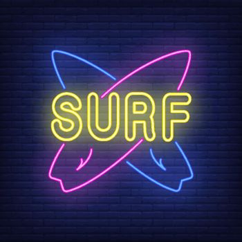 Surf neon lettering with crossed surfboards