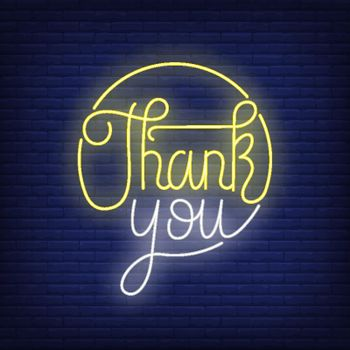 Thank you neon lettering in circle