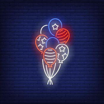 USA flag balloons neon sign