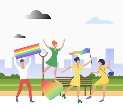People holding lgbt flags in pride parade