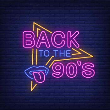 Back to nineties neon lettering with lips and tongue