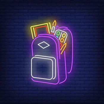 Backpack with artist's materials neon sign
