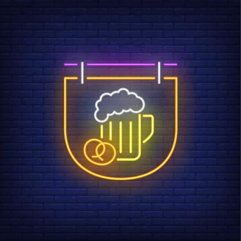 Beer mug and pretzel on signboard neon sign