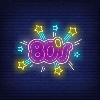 Bright eighties neon lettering
