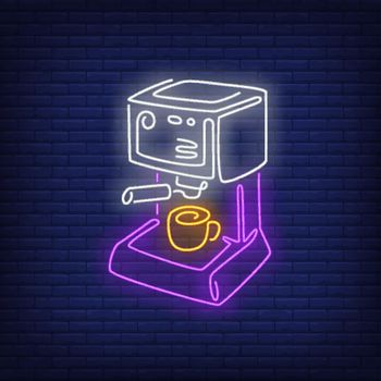 Coffee machine neon sign