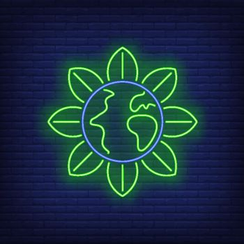 Earth globe flower metaphor neon sign