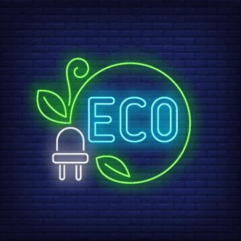 Eco neon lettering and power plug with green cord and leaves