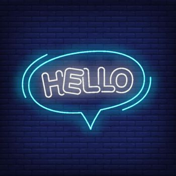Hello neon lettering in speech bubble