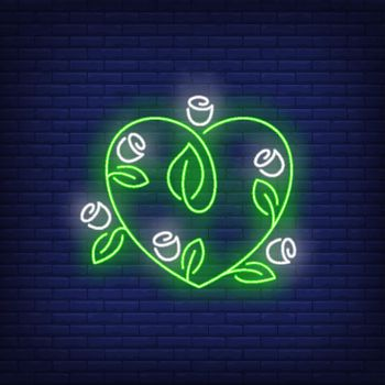 Heart shaped flowers neon sign