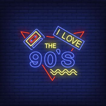 I love nineties neon lettering with audio cassette