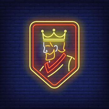 King on shield neon sign