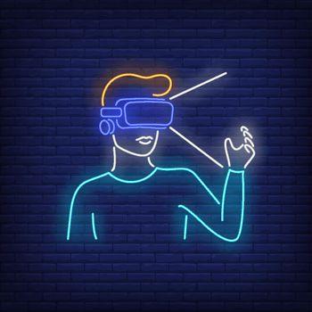 Man wearing VR headset neon sign