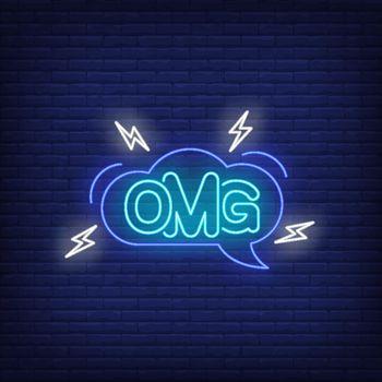 OMG neon lettering in speech bubble