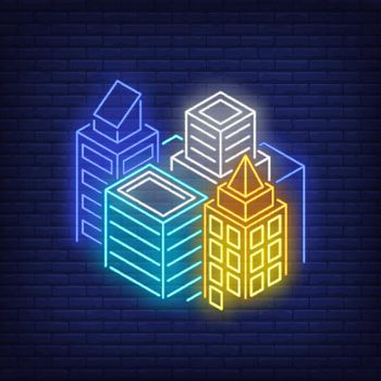 Metropolis buildings neon sign
