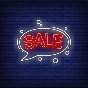 Sale neon lettering in speech bubble
