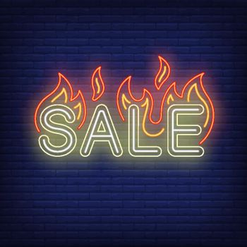 Sale with flames neon sign
