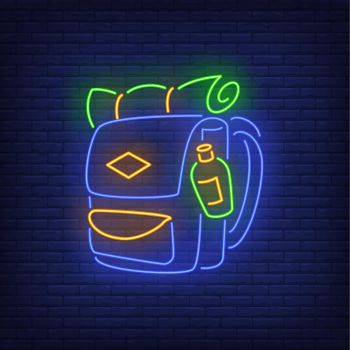Travelling backpack neon sign