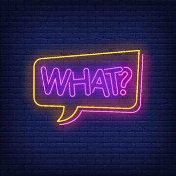 What neon lettering in speech bubble