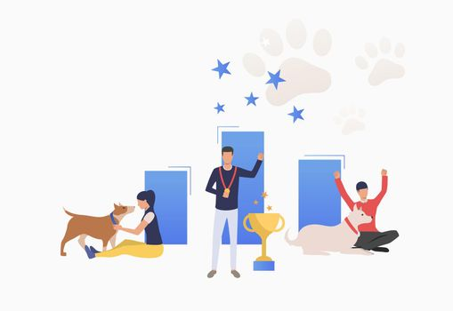 Dog owners celebrating victory at dog show
