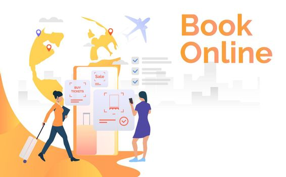 Female tourists using mobile phone and booking flight ticket