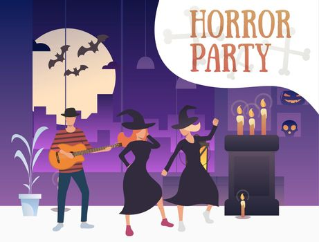 Horror party banner with dancing witches and guitarist