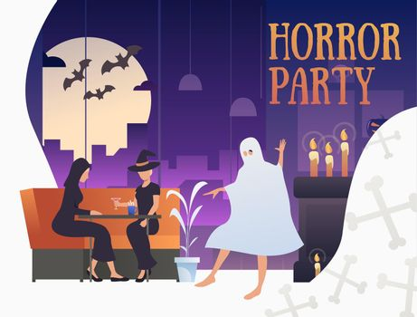 Horror party banner with Halloween characters in pub