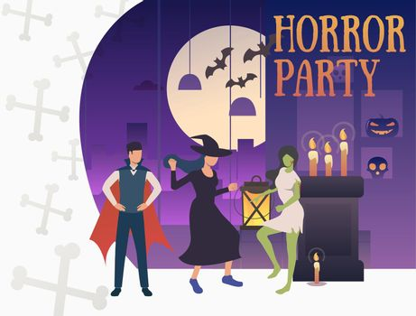 Horror party banner with hilarious monsters