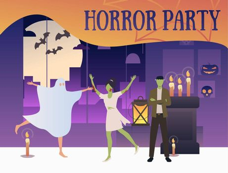 Horror party banner with zombies and ghost