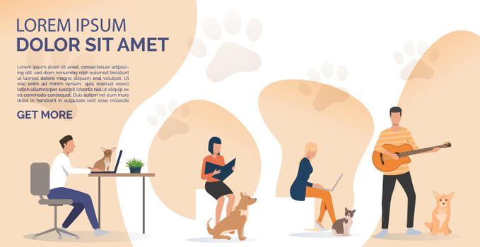 Pets owners reading book, working on laptops and playing guitar