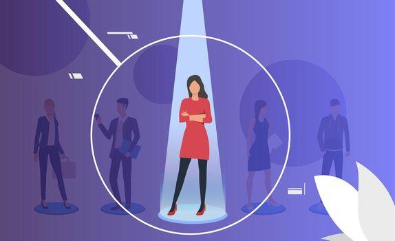 Woman under spotlight through magnifier glass