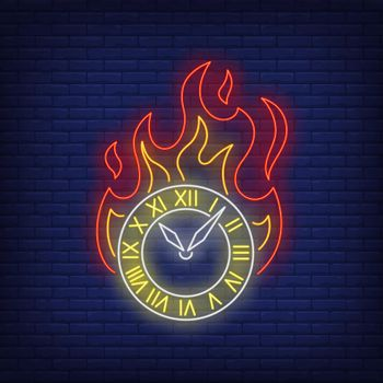 Burning clock neon sign