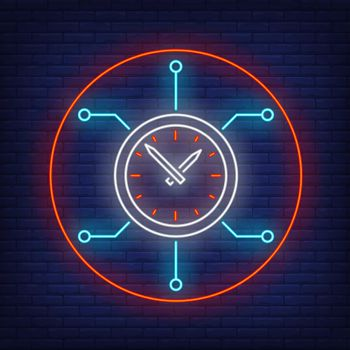 Clock with circuit board neon sign