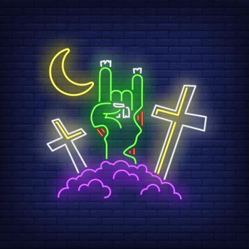 Graveyard with devil horn zombie hand gesture neon sign