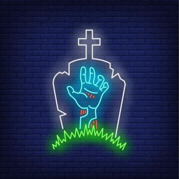 Graveyard with gravestone and zombie hand neon sign